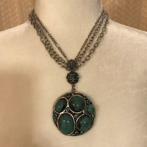 Silver necklace with large faux turquoise stones